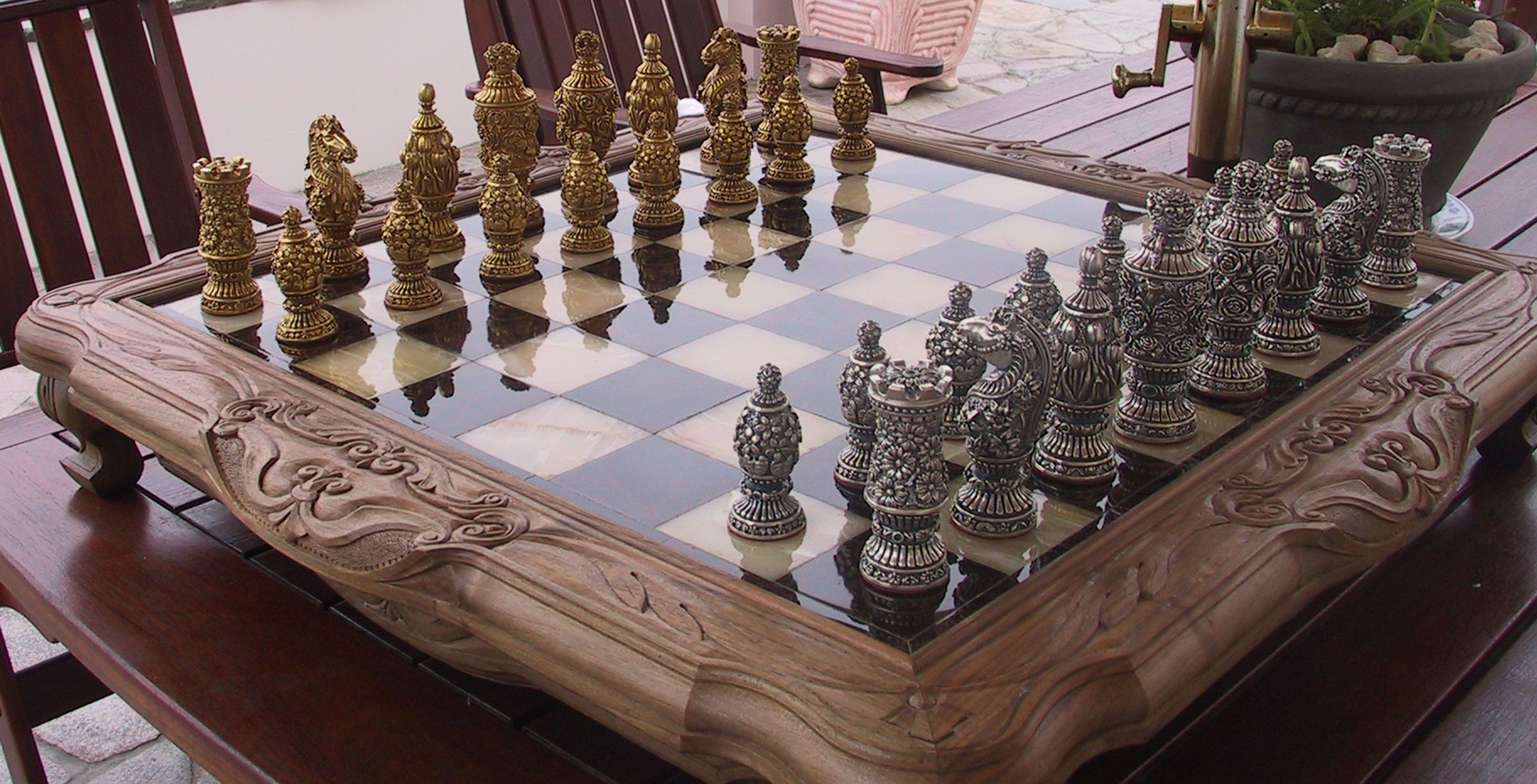 Furniture, Cool Unique Luxury Art Work Chess Set And Boards By Carved  Bullet Chess Pieces