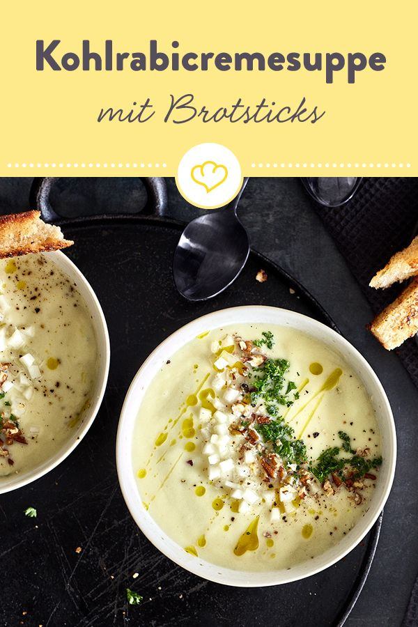 Photo of Kohlrabi cream soup with bread sticks and pecans