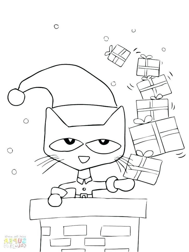 Printable Pete The Cat Coloring Pages For Kids Christmas