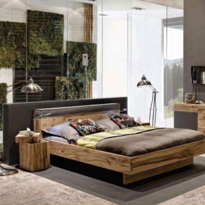 Holzbett Maserung Dunkel Lederkopfteil Doppelbett Haus Deko Schlafzimmermobel Bett 140