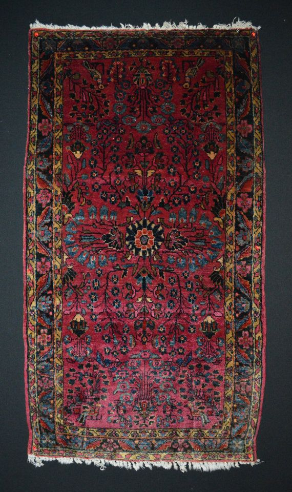 Antique Persian Rug Sarouk W Busy Fl Patter Size 2x4 Ft Area