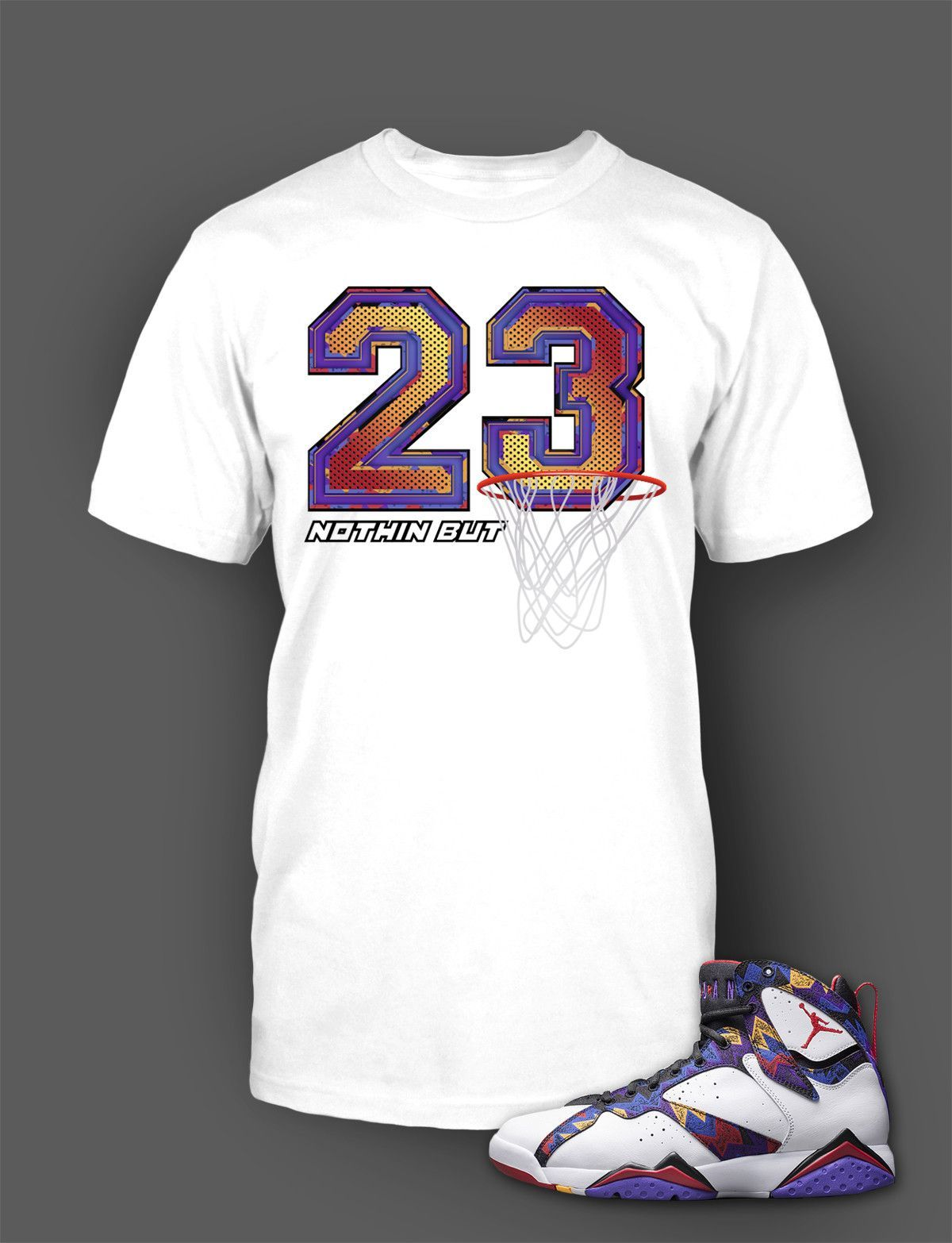5d762e9d2909 Graphic T Shirt To Match Retro Air Jordan 7 Nothing But Net Shoe in ...