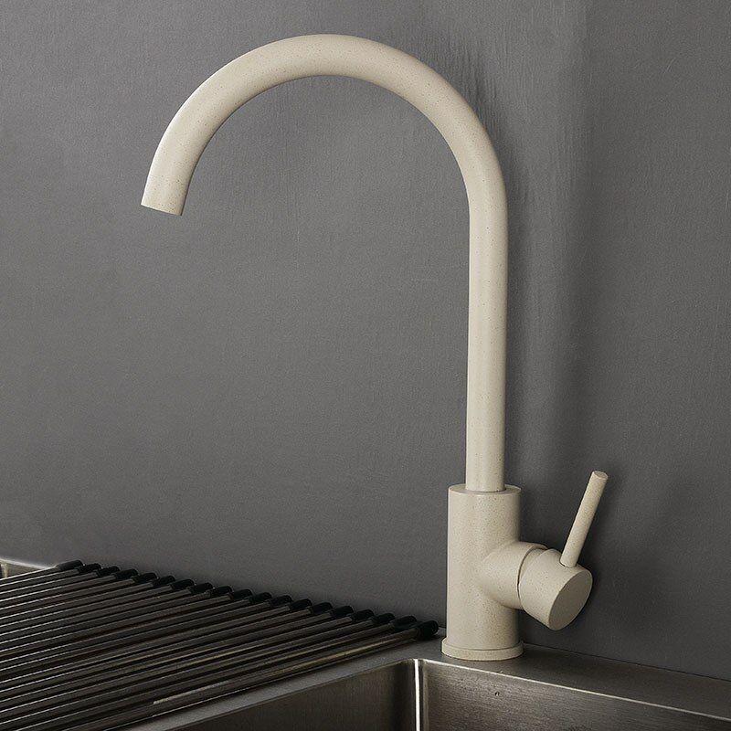 Beige Kitchen Sink Faucet Mixer 360 Degree Rotation Water Tap Hot
