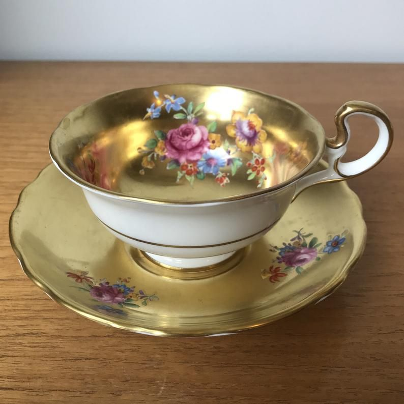 Radfords Fenton Vintage Teacup and Saucer, All Gold Tea Cup and Saucer, Pink and Blue Flower, English Golden Bone China #teacups