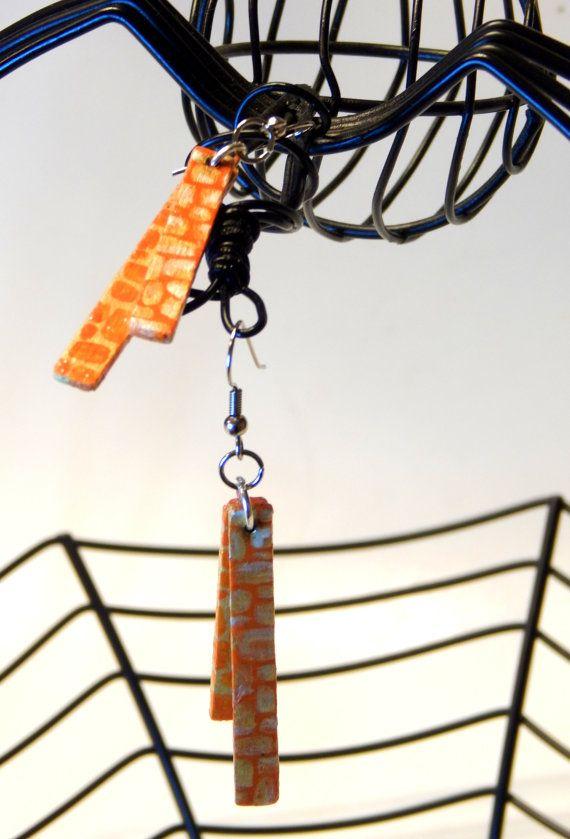 Asymmetric Giraffe Print Stix Earrings by FunkyLollipop on Etsy