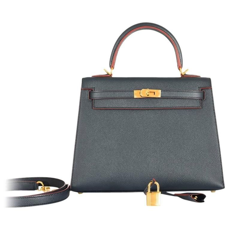 53dcd5e2a758 Sexiest Hermes Kelly Bag 25cm Indigo with rouge H contour Gold ...