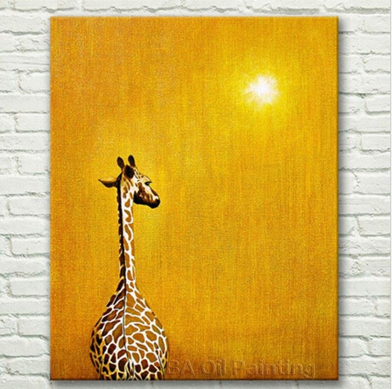 Abstract Oil Painting Giraffe In The Sunset Hand Pictures Modern ...