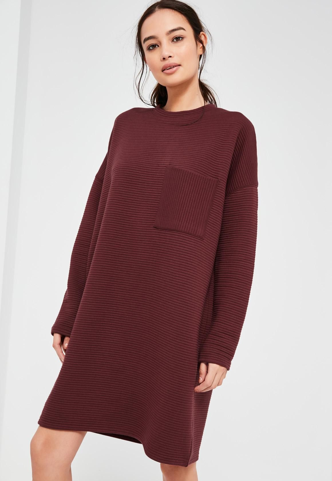 Burgundy Ribbed Pocket Sweater Dress | Missguided, Burgundy and ...