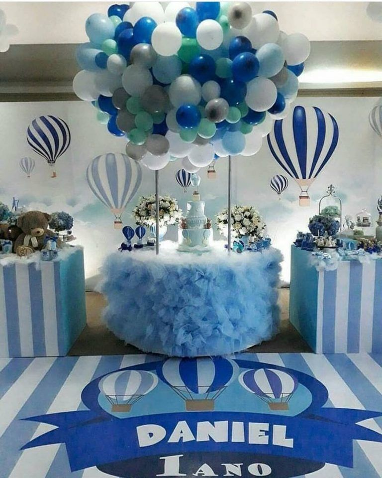 Baby Shower De Osos Para Nino Baby Birthday Balloon Baby Shower Balloons Hot Air Balloon Baby Shower