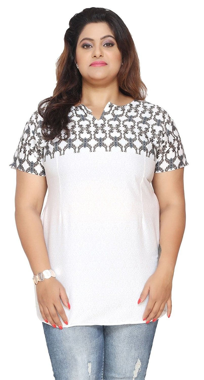 d221aa7441 Women's Clothing, Tops & Tees, Blouses & Button-Down Shirts, Women's Plus  Size Short Sleeve India Kurtis Tunic Top Printed Indian Clothing -  White-grey ...