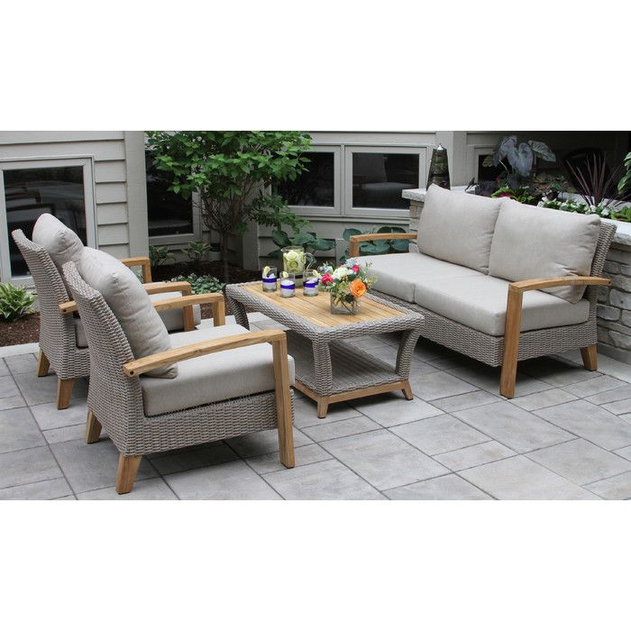Dillard Teak And Wicker 4 Piece Deep Seating Group With Cushion Teak Patio Furniture Discount Outdoor Furniture Outdoor Sofa Sets