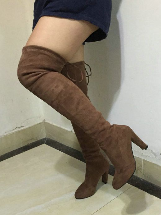 classic fit preview of the best attitude Stretch Faux Suede Slim Thigh High Over Knee Boots | Slim thighs ...