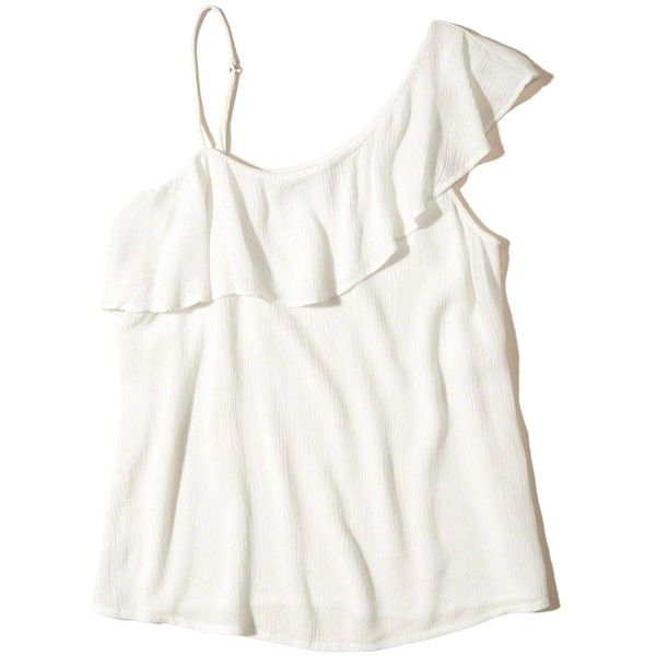 Hollister Asymmetrical Ruffle Tank ($35) ❤ liked on Polyvore featuring tops, white, white tank top, camisole tank top, one shoulder tops, cami tank and white ruffle top