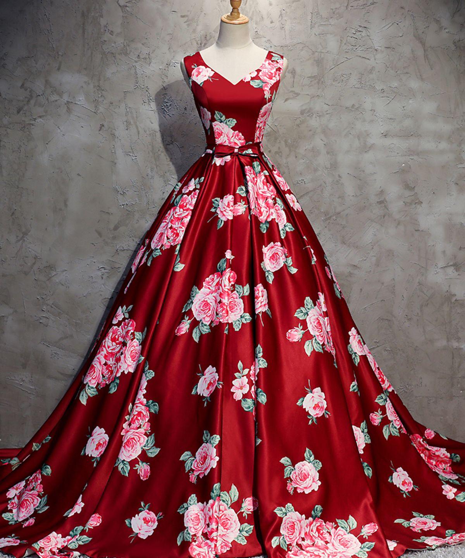 Red floral print satin V neck long train evening dress 71796301cf41