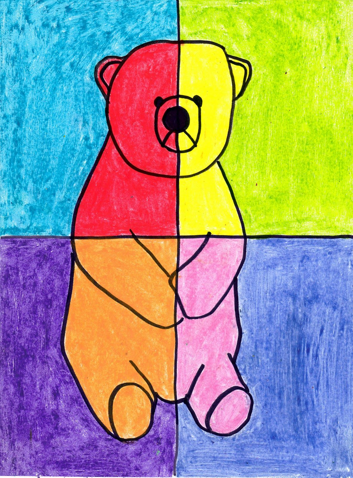 Abstract oil pastel bear
