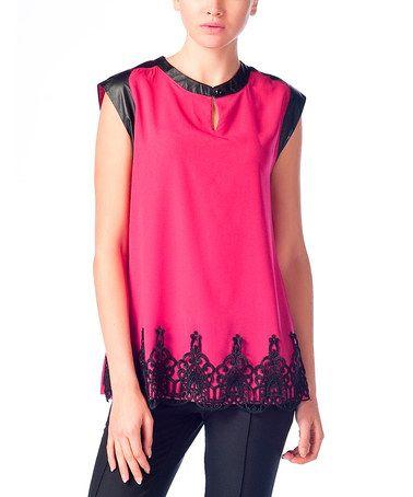 Fuchsia & Black Lace-Hem Cap-Sleeve Top $29.99