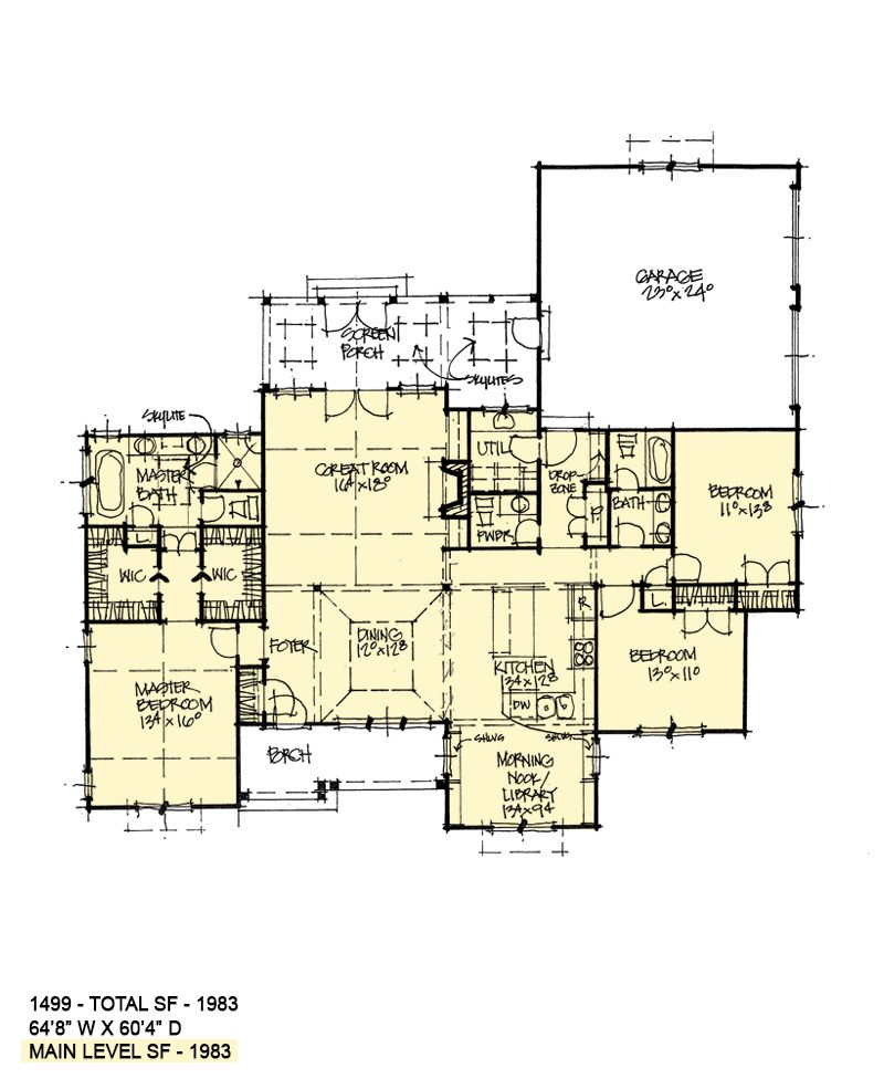 First Floor Of Conceptual House Plan 1499 New House Plans House Plans One Story House Plans Farmhouse