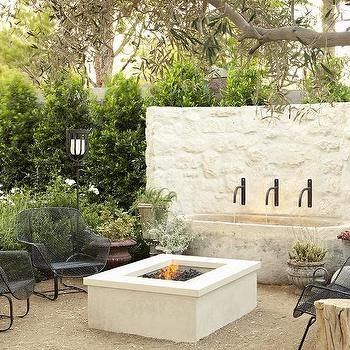 Havens South Designs Closeup Of Water Feature Fire Pit Wall Outdoor Fountainswhite