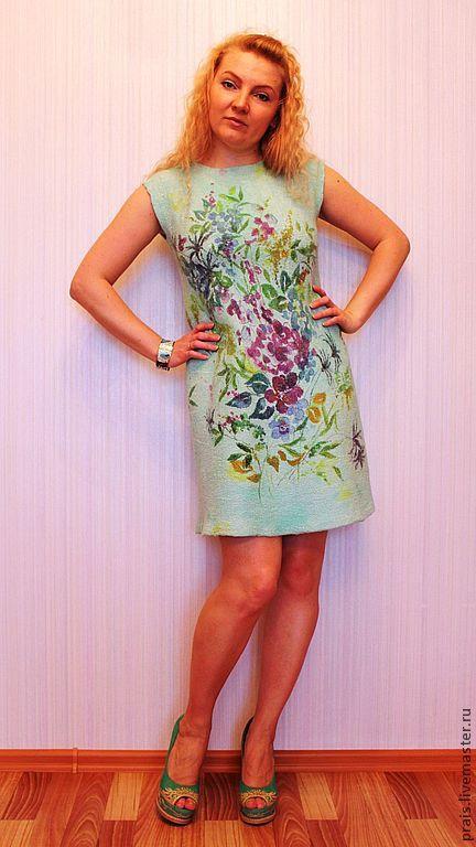 """Купить Авторское валяное платье """"Мятное совершенство"""" - мята, мятный цвет, авторское платье"""
