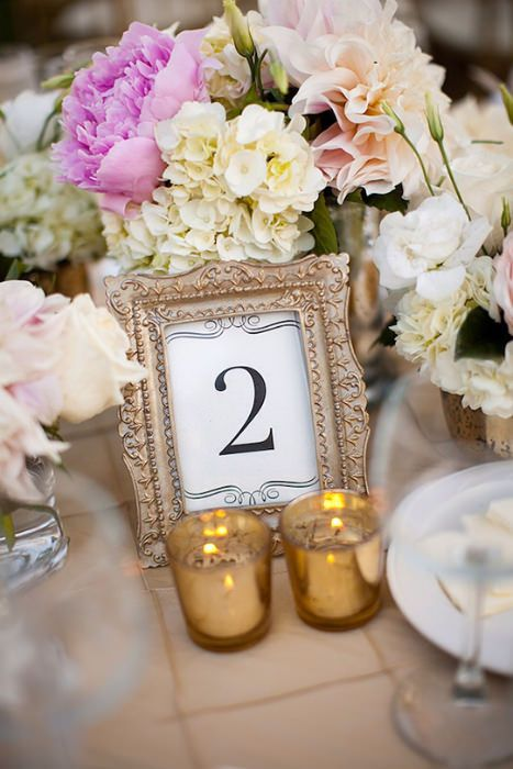 event design table numbers in gold frames - Mini Gold Frames