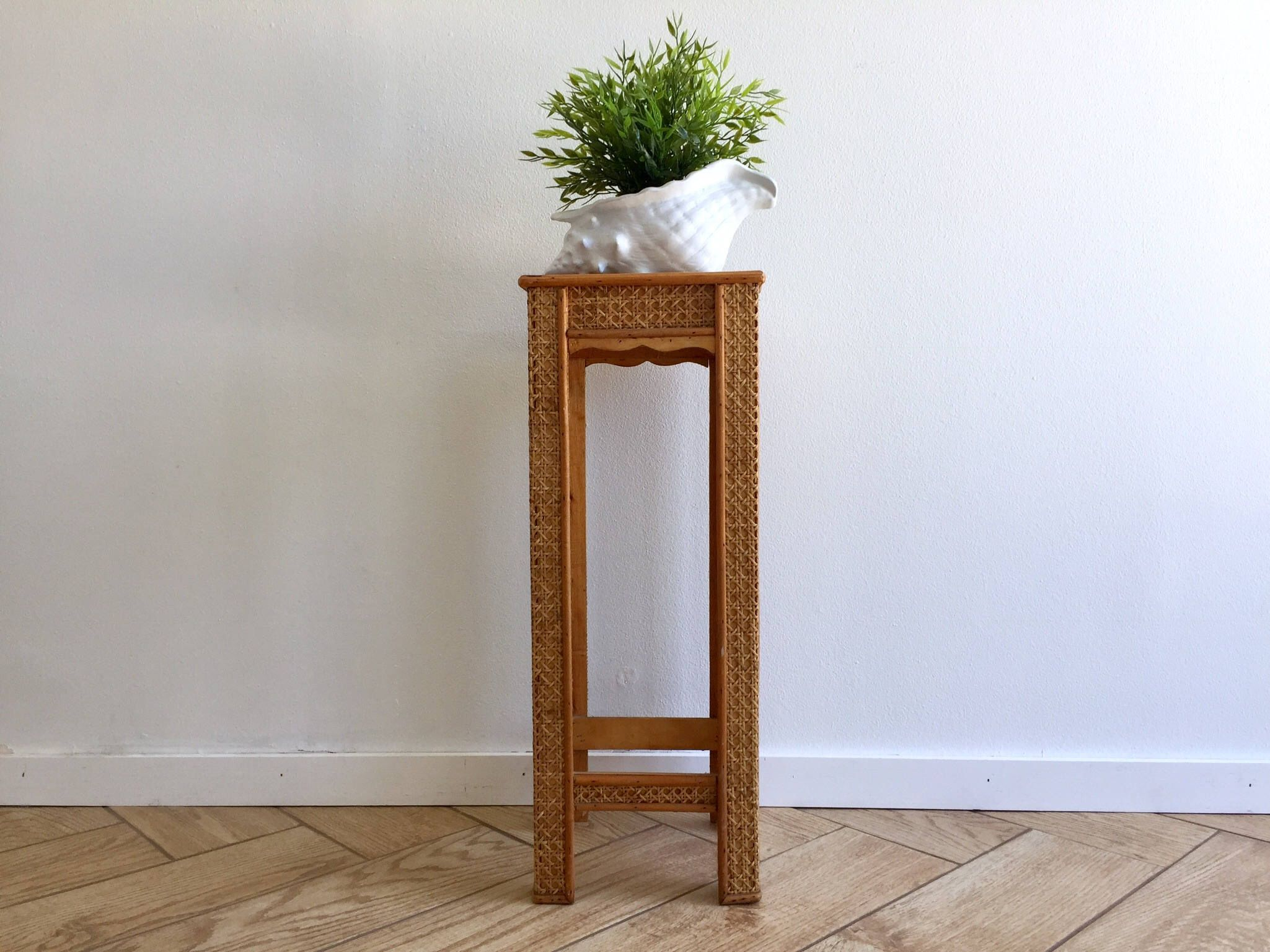 Wicker rattan side table tall narrow plant stand 70 39 s for Tall slim side table
