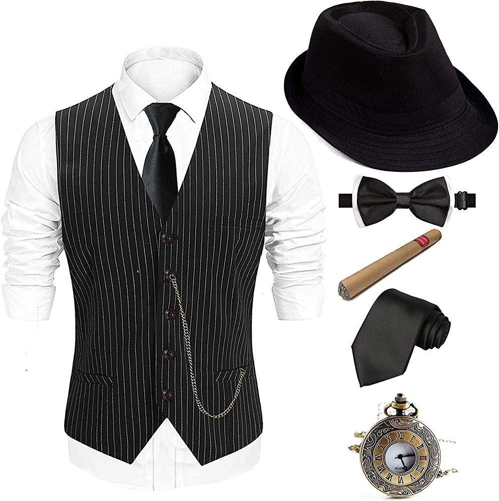 1920s Mens Gatsby Gangster Costume Accessories Set Retro Panama Newsboy Costume
