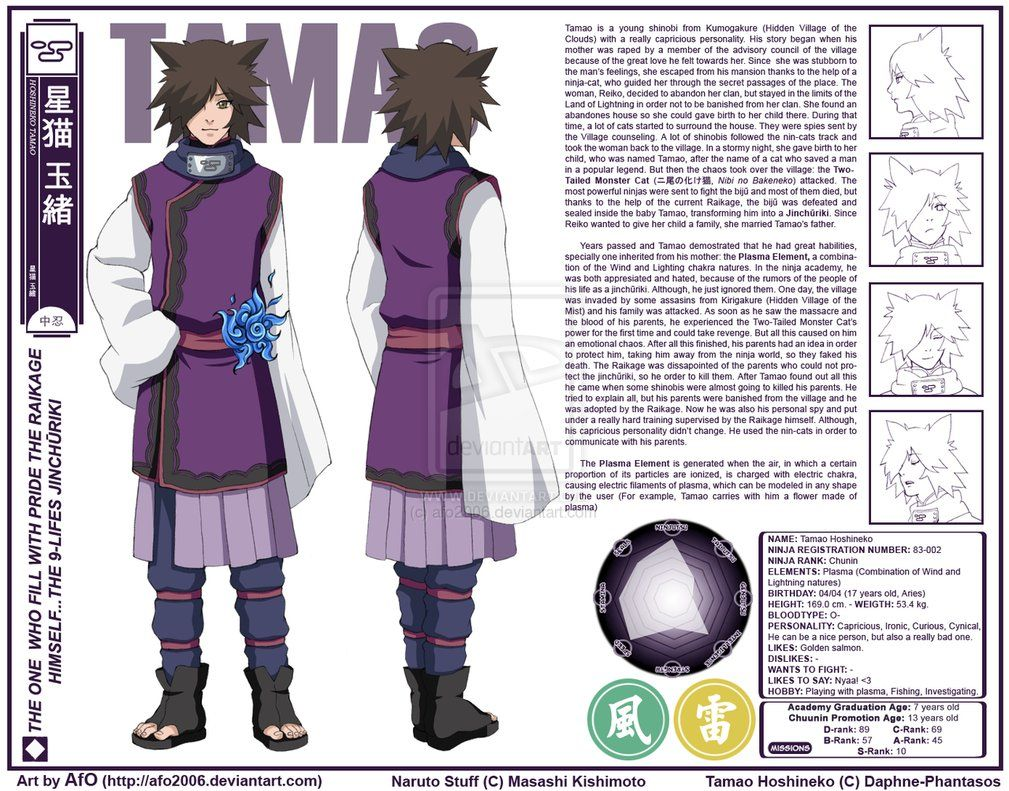 Tamao Hoshineko Char. Sheet by afo2006 Anime, Naruto