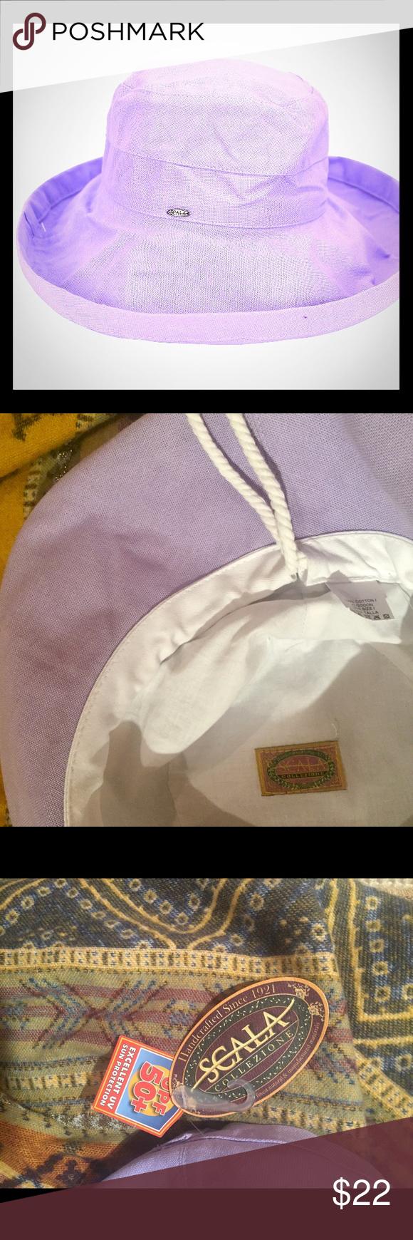 3d0bf11638b Big brim cotton hat w  inner drawstring-lavender Women s Scala big brim  cotton hat with inner drawstring. Pretty lavender color. (White hat not  available.