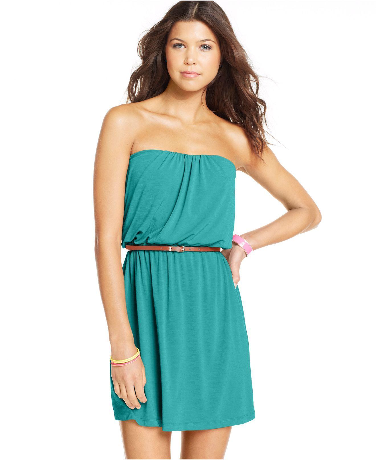 Trixxi Juniors\' Belted Strapless Dress - Juniors Dresses - Macy\'s ...