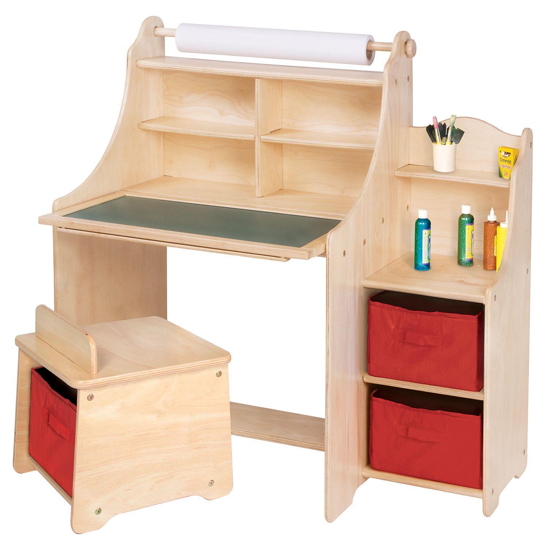Kids Desk With Storage Art Equipment 36 Art Desk Set With Storage By Guidecraft Stool