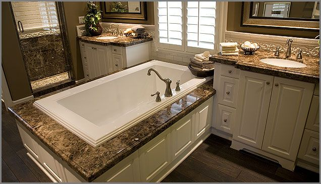 Brown Marble Countertops And Bath Surround Bathroom