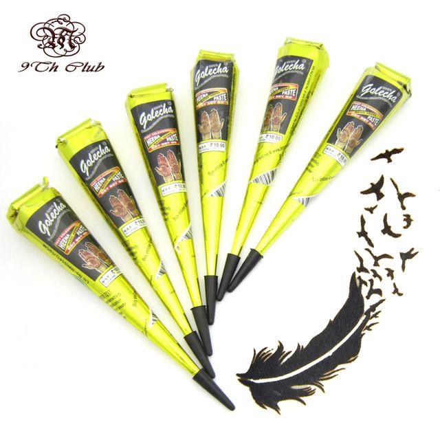 6 Pieces Golecha Black Indian Henna Tattoo Paste Cream Cones