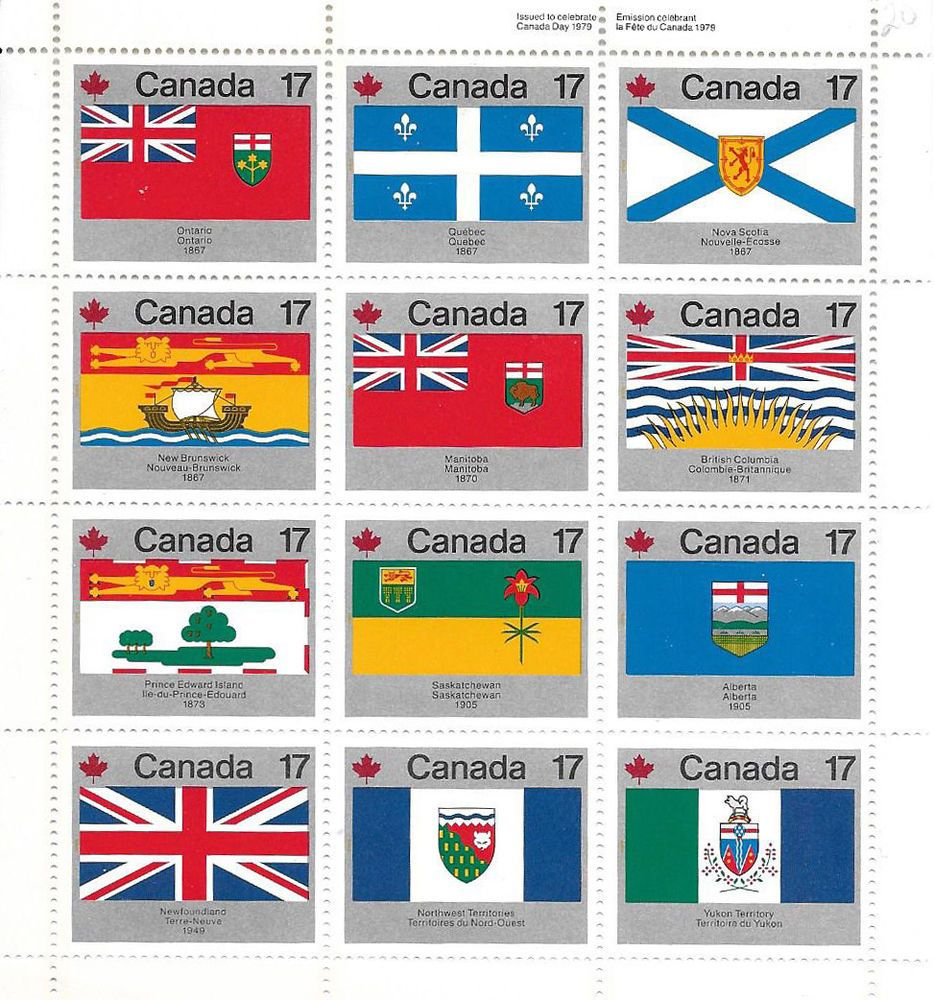 Scott 832a Cdn Provincial Flags Sheet Of 12 Stamps Canada Blocks Multiples Ebay Canadian Provincial Flags Canada Day Canada