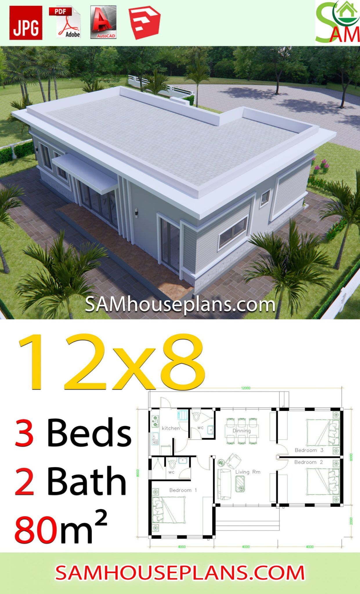 House Plans 12x8 With 3 Bedrooms Terrace Roof Sam House Plans Building Plans House Small House Design Plans Affordable House Plans