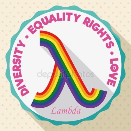 Round Button With Colorful Lambda Symbol For Lgbt Equality Rights