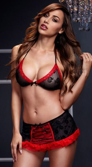 5b2df2fcc4 Ana Cheri. Black and Red Bra Top with Lace-Up Garterskirt
