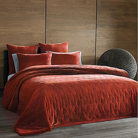 The Tallulah Collection By Kevin Ou0027Brien Cirrus Full/Queen Coverlet In  Burnt Orange