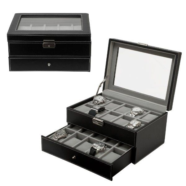 Watch Box Large 20 Mens Black Leather Display Glass Top Jewelry Case