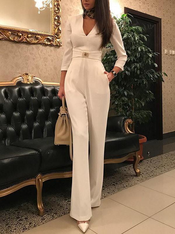 New White Belt Pockets V-neck Elegant Party Wide Leg Palazzo Long Jumpsuit  Pant 156510fa5