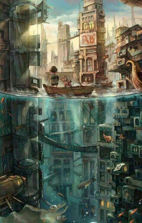 Dos Mundos 水没都市 ファンタジーな風景 幻想的なイラスト