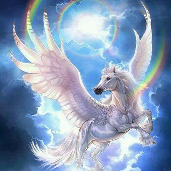 5D Diamond Painting Rainbow Pegasus Kit Offered by Bonanza Marketplace. http://www.BonanzaMarketplace.com #diamondpainting #5ddiamondpainting #paintwithdiamonds #disneydiamondpainting #dazzlingdiamondpainting #paintingwithdiamonds #Londonislovinit #pegasus #mythical #mythicalcreatures