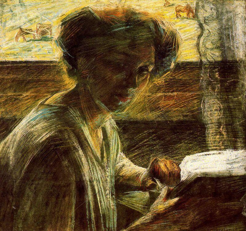 Boccioni, Umberto (1882-1916).  Portrait of a Young Woman, 1909, Pastel.  Museum: Ca' Pesaro - Galleria Internazionale d'Arte Moderna, Venice, Italy.