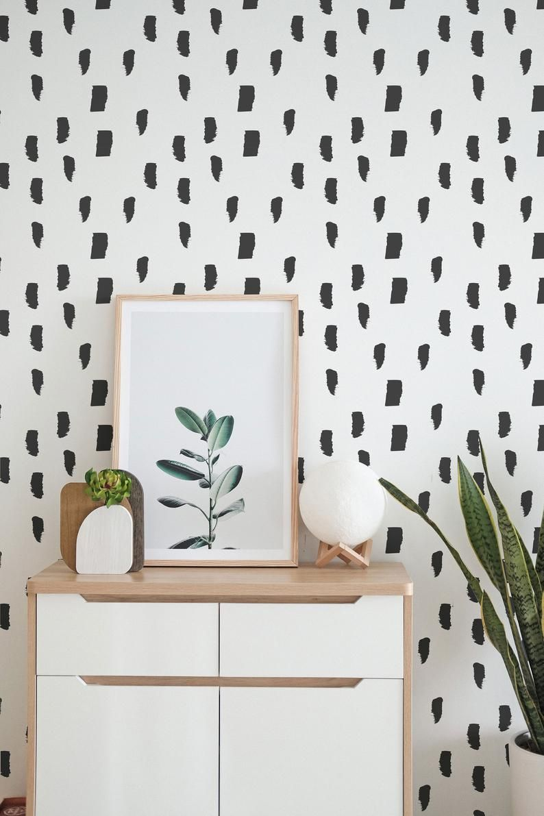 Black And White Self Adhesive Wallpaper Brush Strokes Peel And Stick Wallpaper Pvc Free And Removable Textile In 2020 Spotted Wallpaper Black And White Wallpaper Accent Wall Bedroom