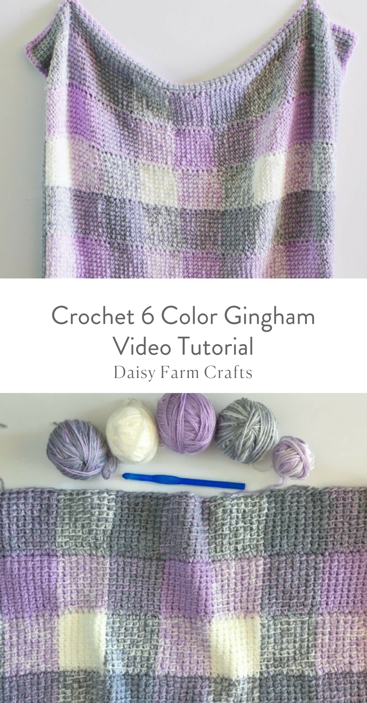 Crochet 6 Color Gingham Video Tutorial | Ganchillo o Croche ...