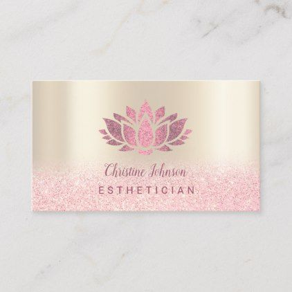 Faux Hot Pink Glitter Lotus On Gold Background Business Card Zazzle Com In 2021 Pink Glitter Background Beauty Business Cards Printing Business Cards