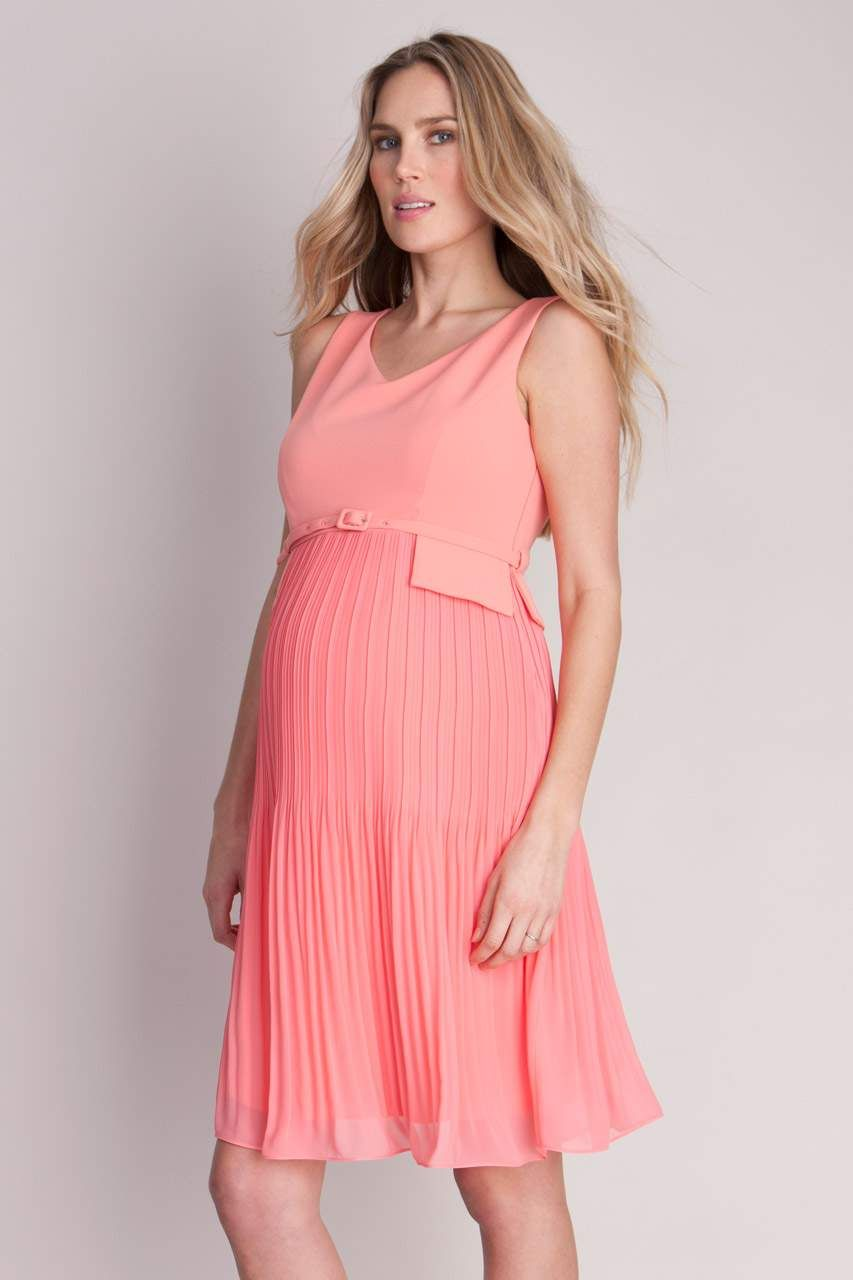 Rmelloses plisseekleid kleider umstandsmode pinterest seraphines coral pleated maternity dress is a smart style in a fresh coral shade perfect for before during and after pregnancy ombrellifo Image collections