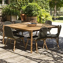 Hamp Wicker And Teak Dining Table And Chairs Retail Caliza - Teak deck table