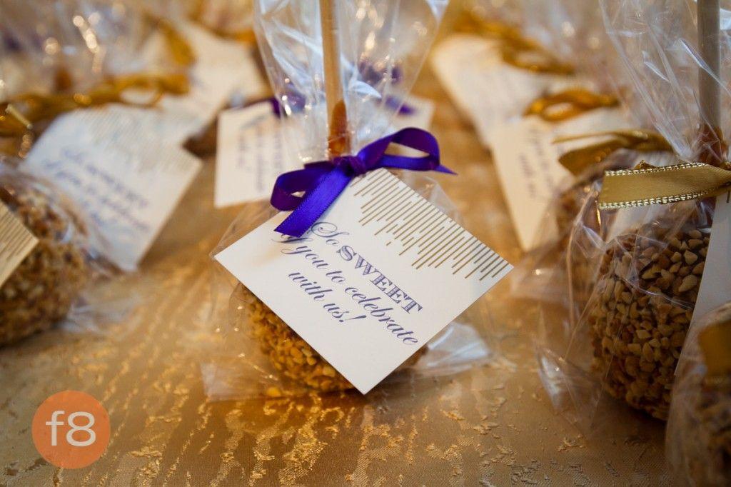 Purple And Gold Wedding Sports Theme Wedding Caramel Apple