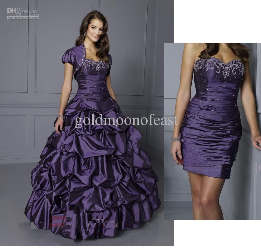 NEW Purple Sweetheart Two Piece Design Pleated Beads Taffeta Short ...