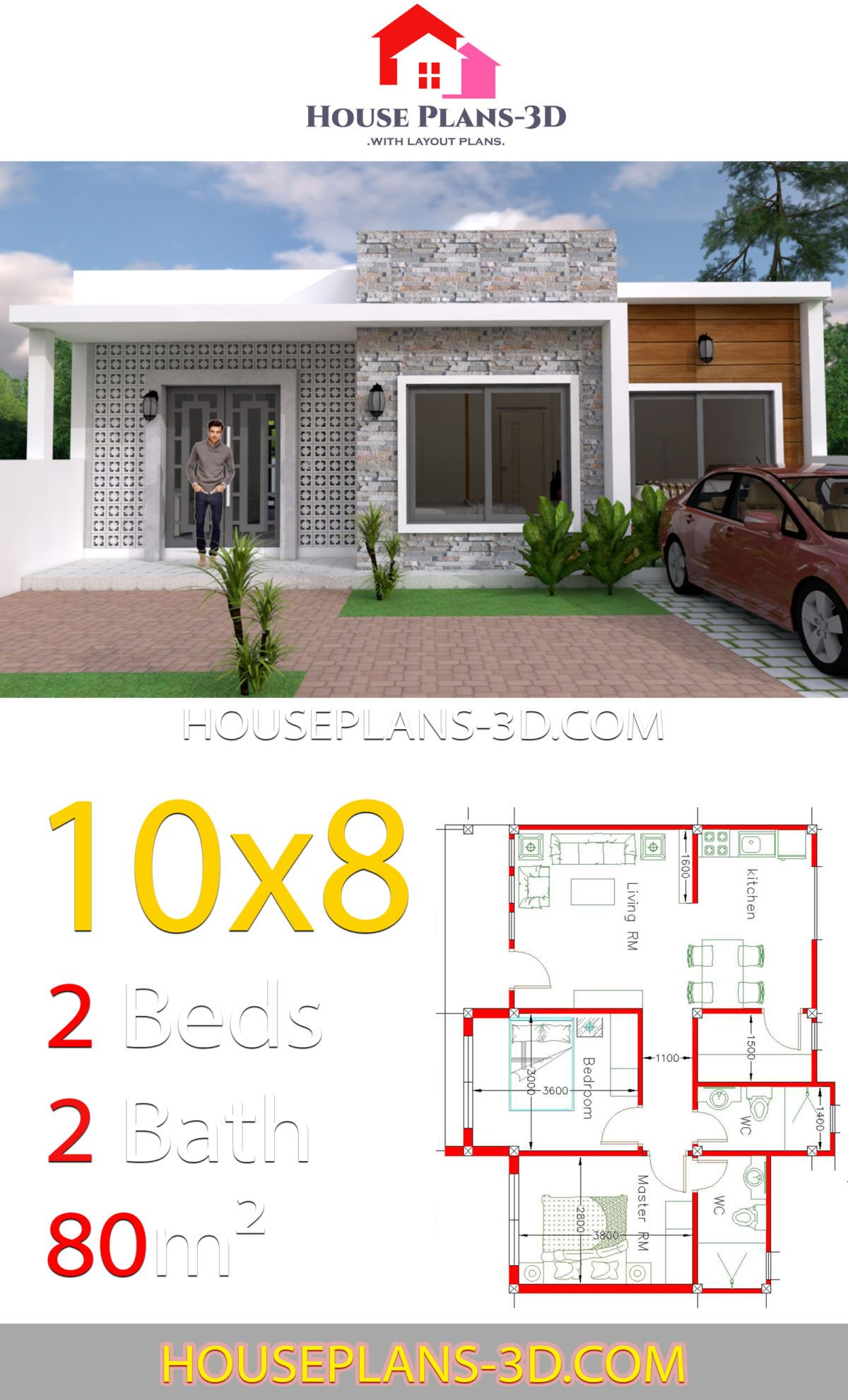 House Design 10x8 With 2 Bedrooms House Plans 3d Fachadas De Casas Terreas Projectos De Casas Casas De Um Andar